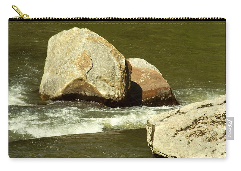River Carry-all Pouch featuring the photograph 2 Rocks Elk River Tn by Carlene Salazar