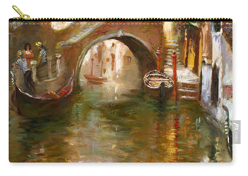 Romance Carry-all Pouch featuring the painting Romance In Venice by Ylli Haruni