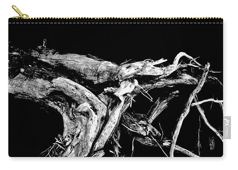 Black And White Carry-all Pouch featuring the photograph Roots 1 by Amar Sheow