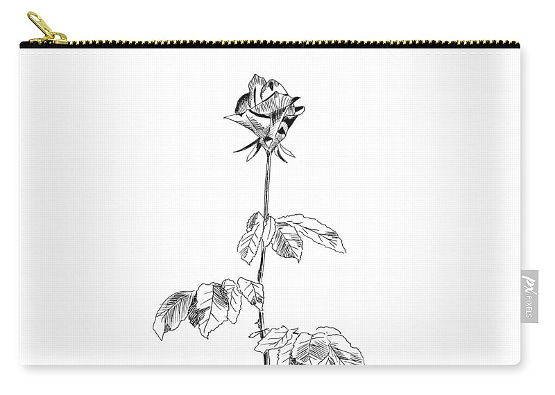 Rose Carry-all Pouch featuring the drawing Rose by Masha Batkova