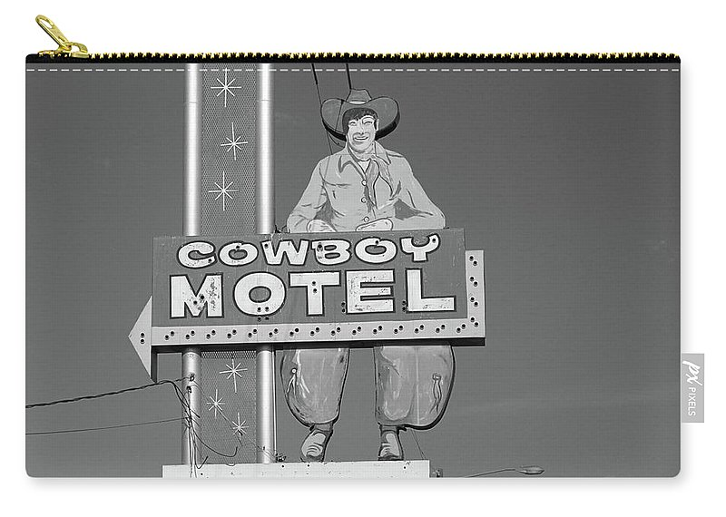 66 Carry-all Pouch featuring the photograph Route 66 - Cowboy Motel by Frank Romeo