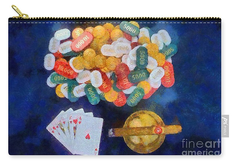 Still Life Carry-all Pouch featuring the painting Royal Flush by George Atsametakis