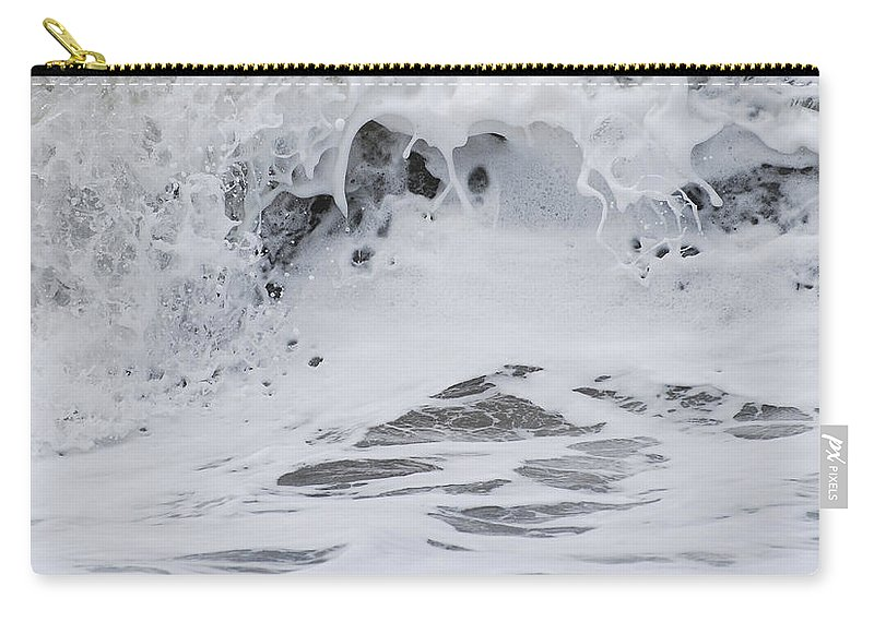 Seascape Carry-all Pouch featuring the photograph Seafoam Wave by Jani Freimann