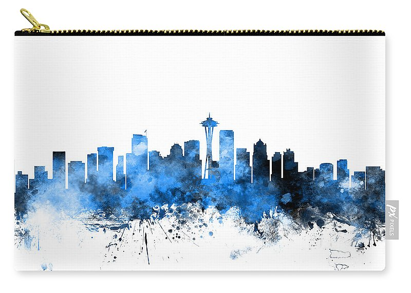 United States Carry-all Pouch featuring the digital art Seattle Washington Skyline by Michael Tompsett