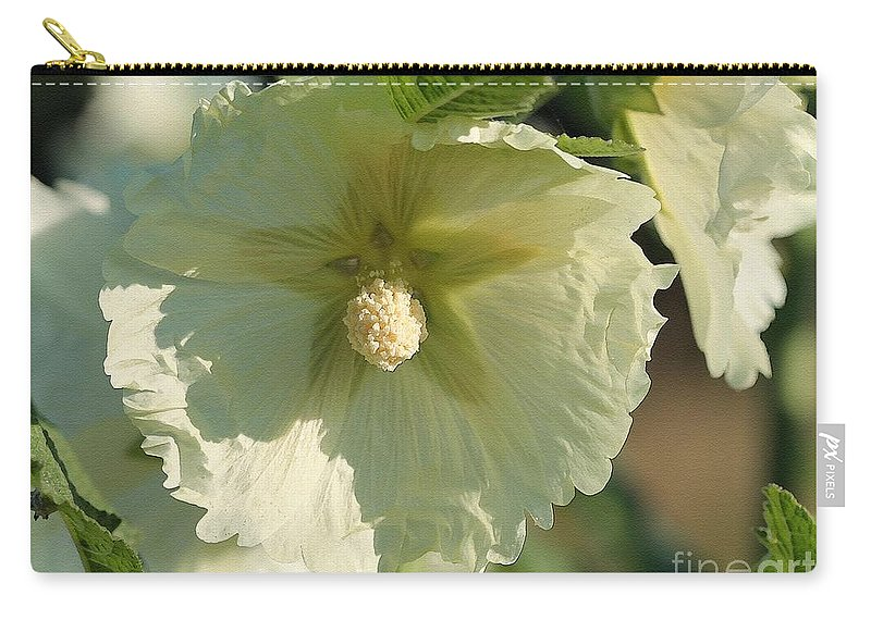 Mccombie Carry-all Pouch featuring the painting Single Buttercream Hollyhock by J McCombie