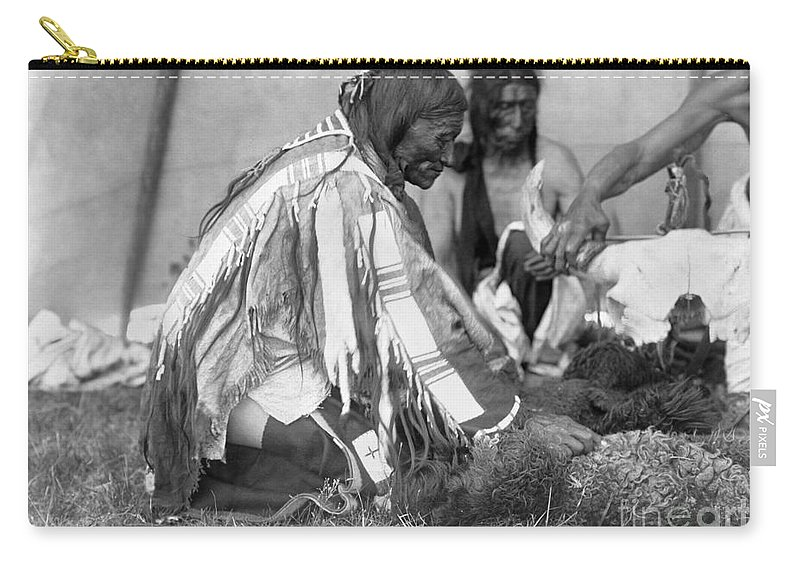 1907 Carry-all Pouch featuring the photograph Sioux Medicine Man, C1907 by Granger