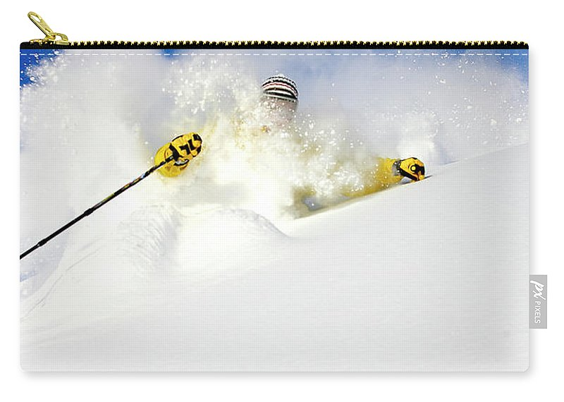 Action Carry-all Pouch featuring the photograph Skiing by Jack Affleck