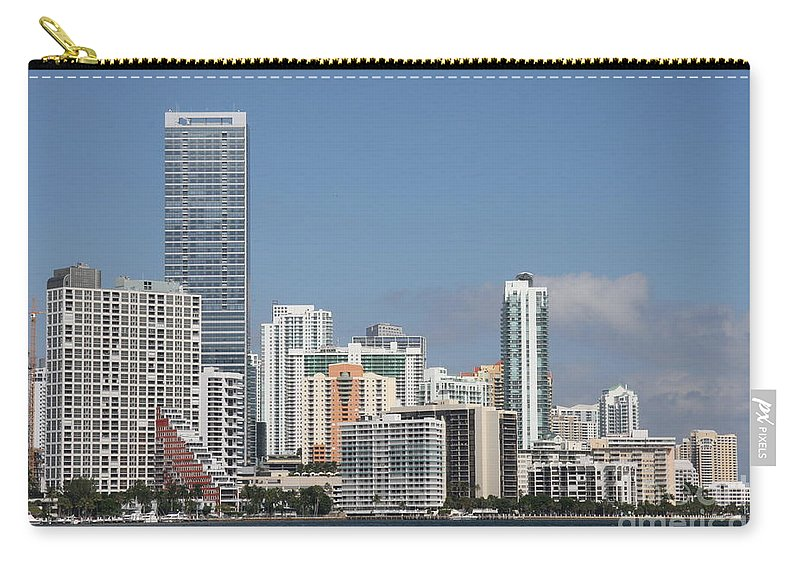 Miami Carry-all Pouch featuring the photograph Skyline Miami by Christiane Schulze Art And Photography