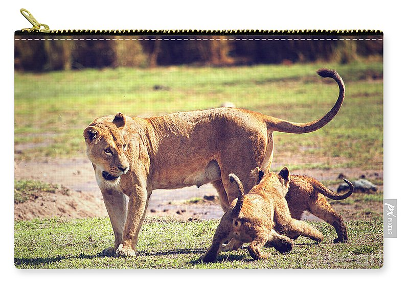 Africa Carry-all Pouch featuring the photograph Small Lion Cubs With Mother. Tanzania by Michal Bednarek
