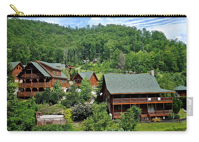 Cabins Carry-all Pouch featuring the photograph Smoky Mountain Cabins by Frozen in Time Fine Art Photography