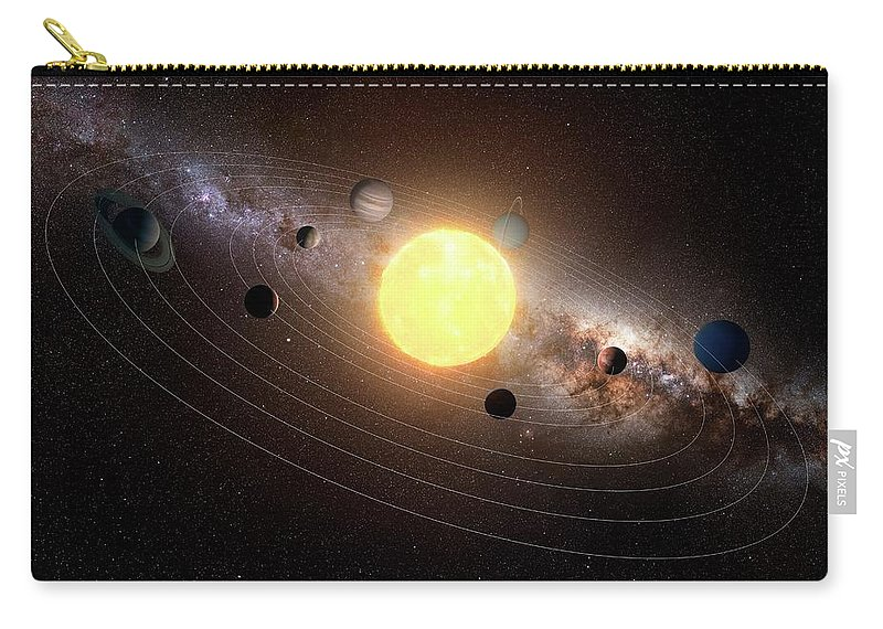 Black Background Carry-all Pouch featuring the digital art Solar System, Artwork by Sciepro
