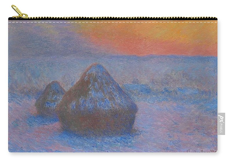 1890-1891 Carry-all Pouch featuring the painting Stacks Of Wheat by Claude Monet