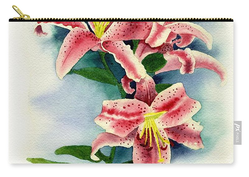 Watercolor Floral Carry-all Pouch featuring the painting Stargazer Lilies by Brett Winn