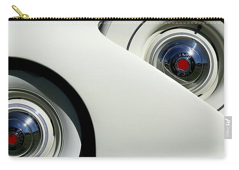 Automobile Carry-all Pouch featuring the photograph Streamlined In White by Joe Kozlowski