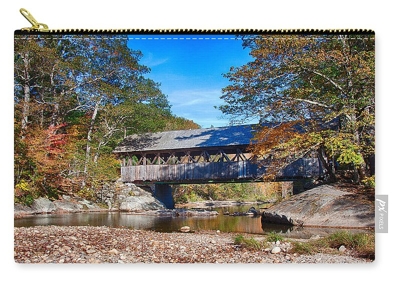 Artist Covered Bridge Carry-all Pouch featuring the photograph Sunday River Covered Bridge by Jeff Folger