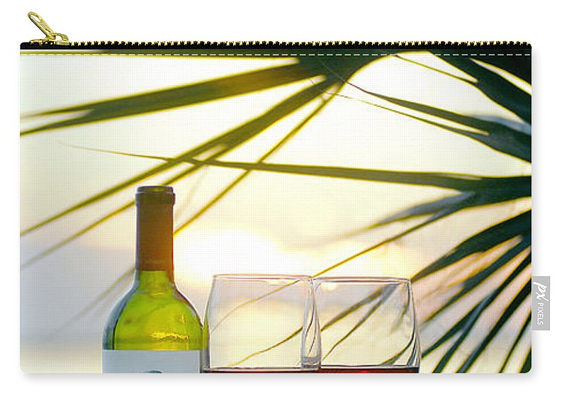 Beach Carry-all Pouch featuring the mixed media Sunset For Two by Jon Neidert