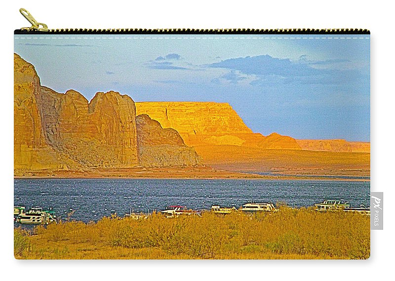 Sunset Glow Over Wahweap Bay In Lake Powell In Glen Canyon National Recreation Area Carry-all Pouch featuring the photograph Sunset Glow Over Wahweap Bay In Lake Powell In Glen Canyon National Recreation Area-arizona by Ruth Hager