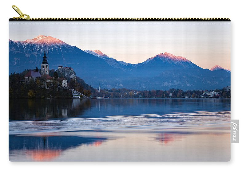 Bled Carry-all Pouch featuring the photograph Sunset Over Lake Bled by Ian Middleton