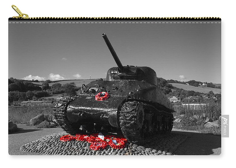 Sherman Tank Carry-all Pouch featuring the photograph Tank Memorial by Chris Day