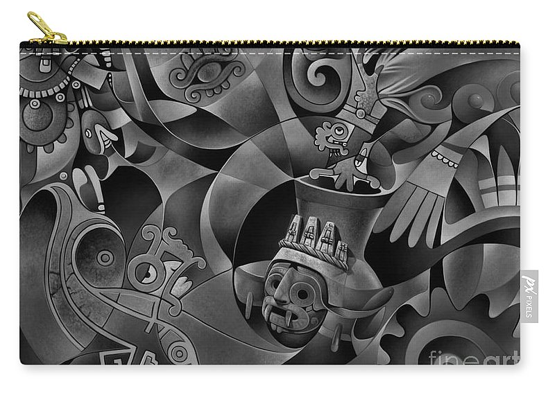 Aztec Carry-all Pouch featuring the painting Tapestry Of Gods - Tlaloc by Ricardo Chavez-Mendez