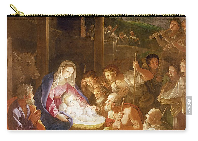Son Of God Carry-all Pouch featuring the painting The Adoration Of The Shepherds by Guido Reni