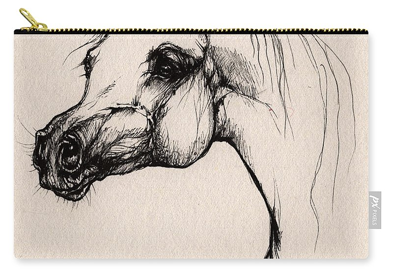 Arabian Horse Carry-all Pouch featuring the drawing The Arabian Horse by Angel Ciesniarska