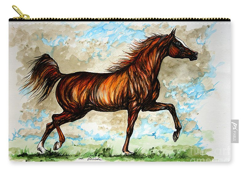 Horse Carry-all Pouch featuring the painting The Chestnut Arabian Horse by Angel Ciesniarska