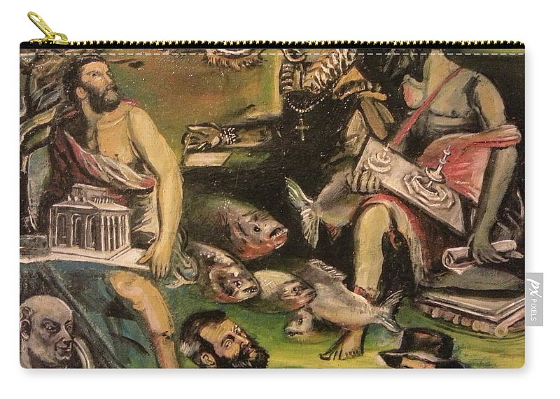 Carry-all Pouch featuring the painting The Great Deluge by Jude Darrien