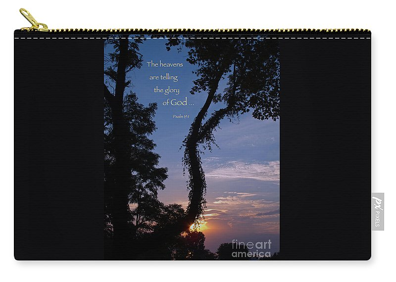 Sunset Carry-all Pouch featuring the photograph The Heavens Are Telling by Ann Horn