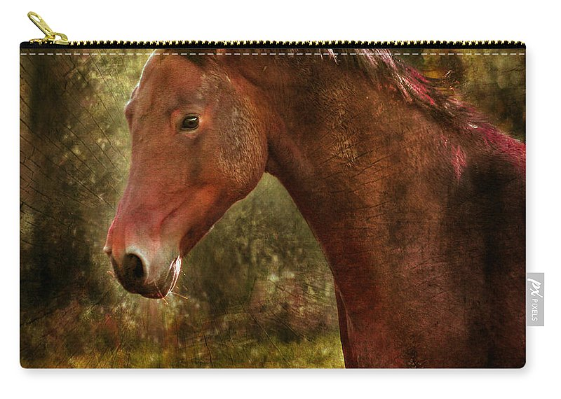 Horse Carry-all Pouch featuring the photograph The Horse Portrait by Angel Ciesniarska