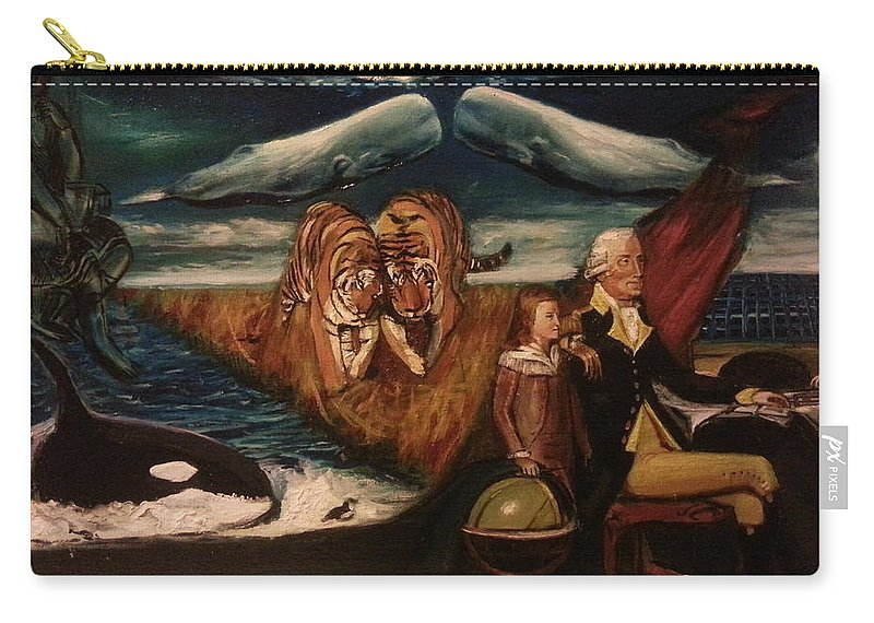 Carry-all Pouch featuring the painting The Spirit Of A Great American President by Jude Darrien