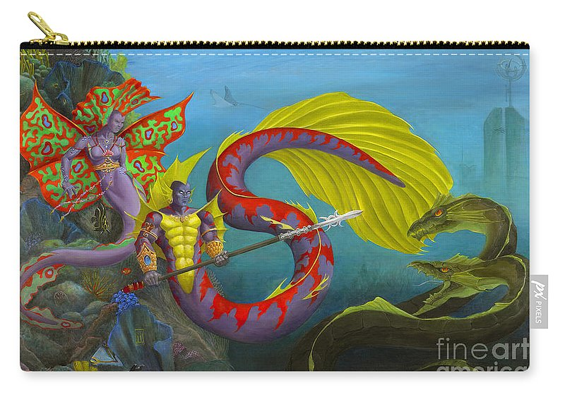 Mermaid Carry-all Pouch featuring the painting The Threat by Melissa A Benson