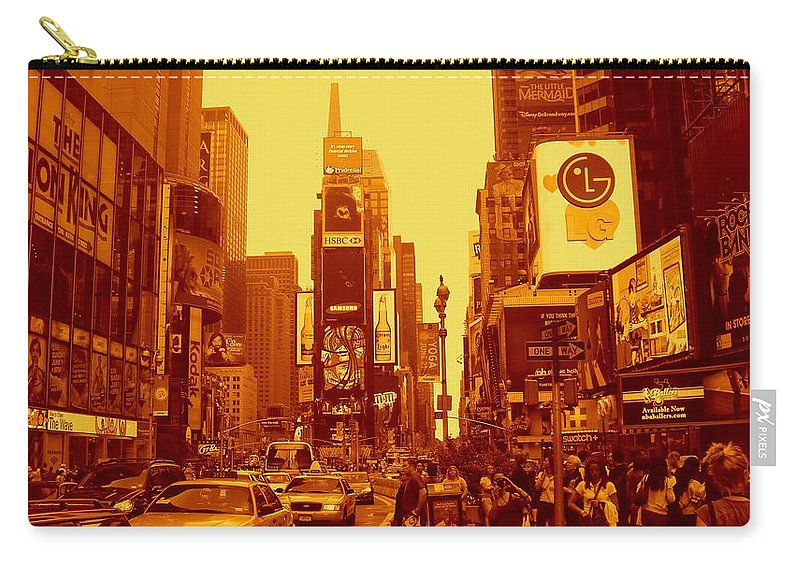 Manhattan Prints Carry-all Pouch featuring the photograph 42nd Street And Times Square Manhattan by Monique's Fine Art