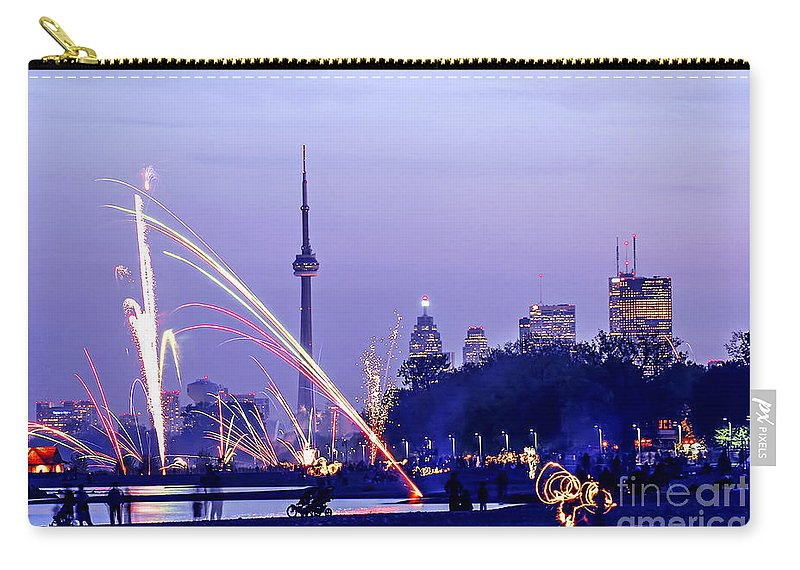 Toronto Carry-all Pouch featuring the photograph Toronto Fireworks by Elena Elisseeva