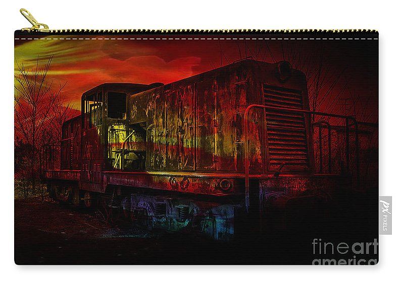 Train Digital Art Carry-all Pouch featuring the mixed media Train by Marvin Blaine