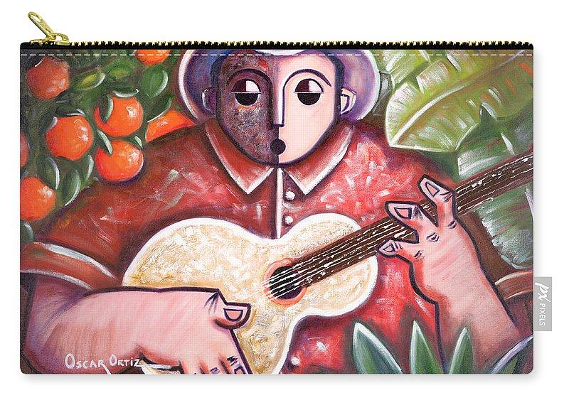 Puerto Rico Carry-all Pouch featuring the painting Trovando en Las Marias by Oscar Ortiz