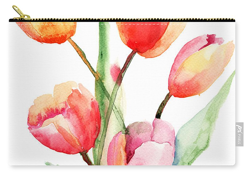 Backdrop Carry-all Pouch featuring the painting Tulips Flowers by Regina Jershova