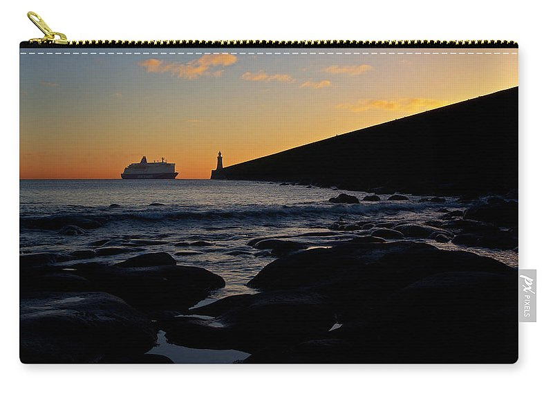Tynemouth Carry-all Pouch featuring the photograph Tynemouth Pier Sunrise by David Pringle