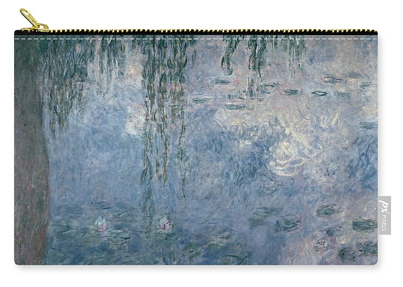 Impressionist Carry-all Pouch featuring the painting Waterlilies Morning With Weeping Willows by Claude Monet