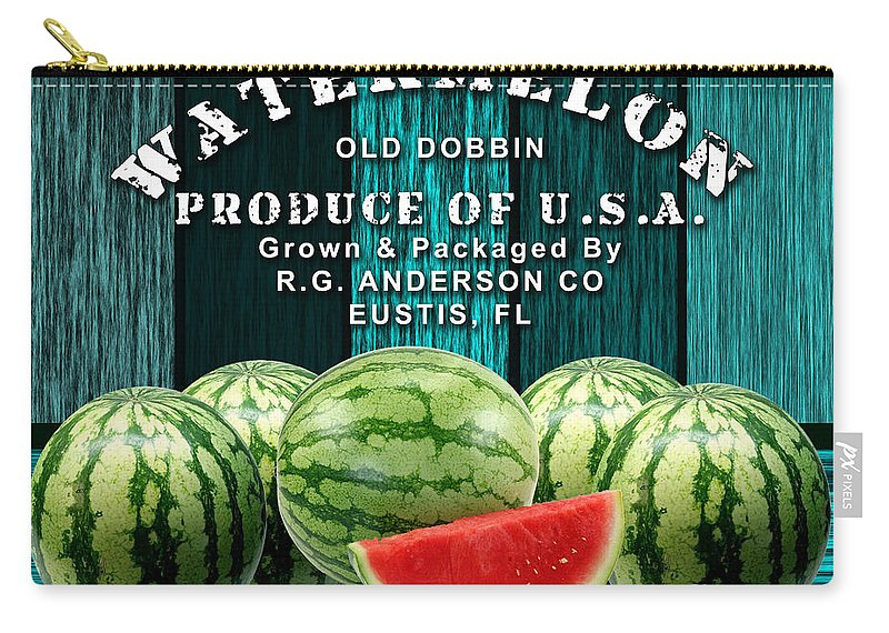 Watermelon Mixed Media Mixed Media Carry-all Pouch featuring the mixed media Watermelon Farm by Marvin Blaine