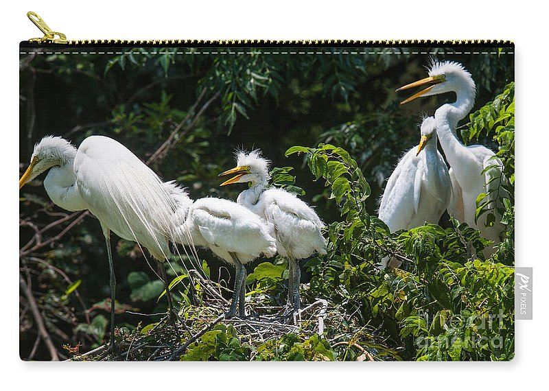 Egret Carry-all Pouch featuring the photograph Whats For Lunch by Dale Powell