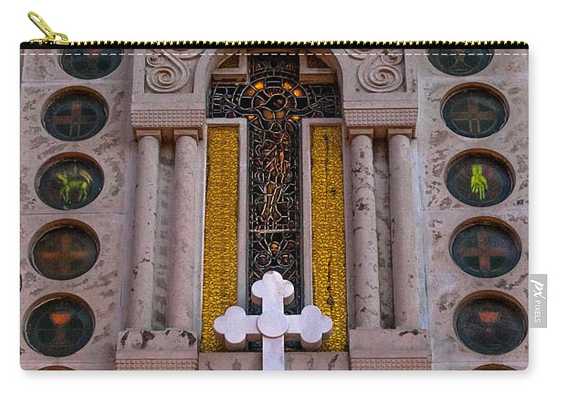 1948 Carry-all Pouch featuring the photograph White Cross At St Sophia by Ed Gleichman