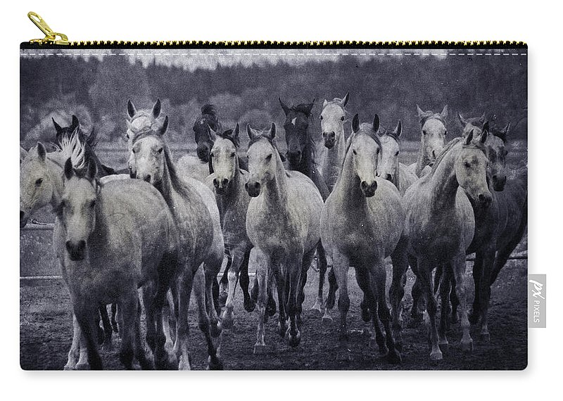 Horse Carry-all Pouch featuring the photograph White Horses by Angel Ciesniarska