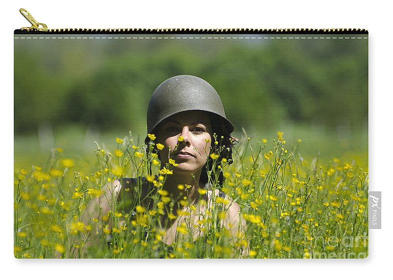 Woman Carry-all Pouch featuring the photograph Woman With Military Helmet by Mats Silvan