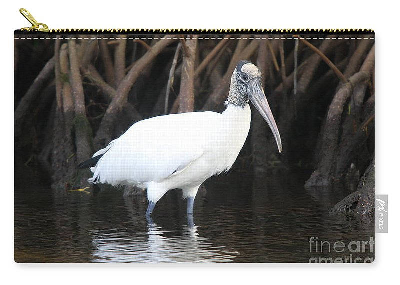 Wood Stork Carry-all Pouch featuring the photograph Wood Stork In The Swamp by Christiane Schulze Art And Photography