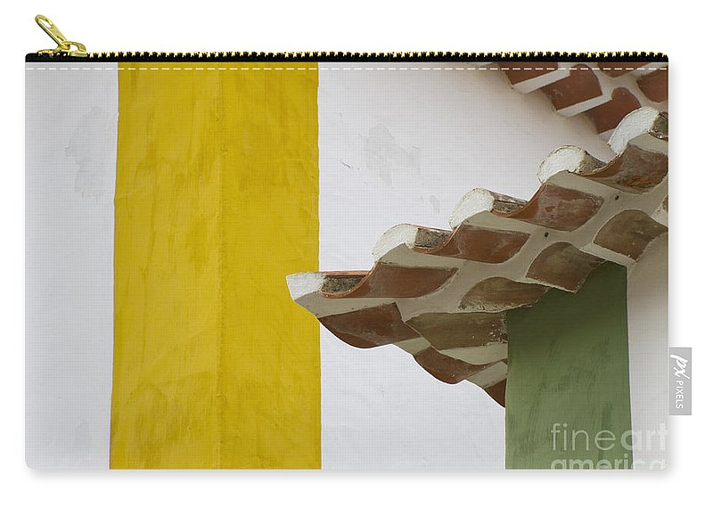 Heiko Carry-all Pouch featuring the photograph Yellow And Green Lines To The Roofs by Heiko Koehrer-Wagner