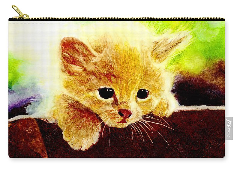 Kitten Carry-all Pouch featuring the painting Yellow Kitten by Hailey E Herrera