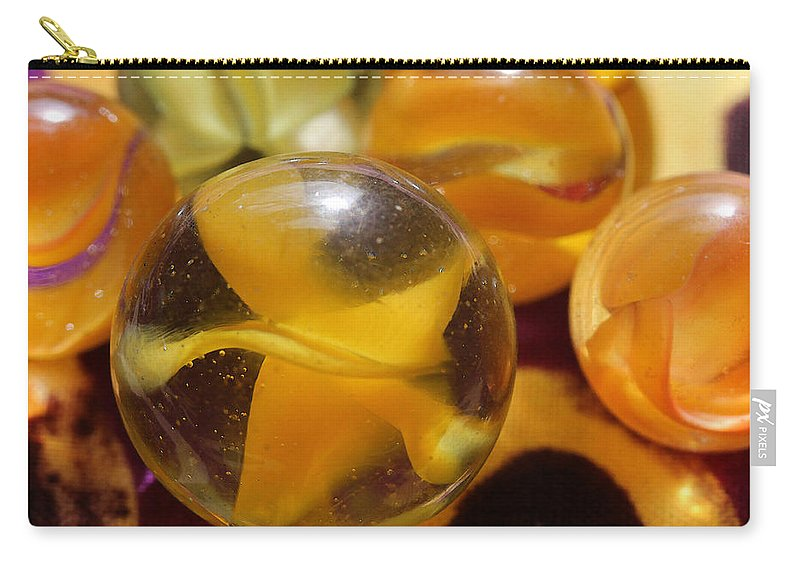 Marble Carry-all Pouch featuring the photograph Yellow Marbles by Mary Bedy