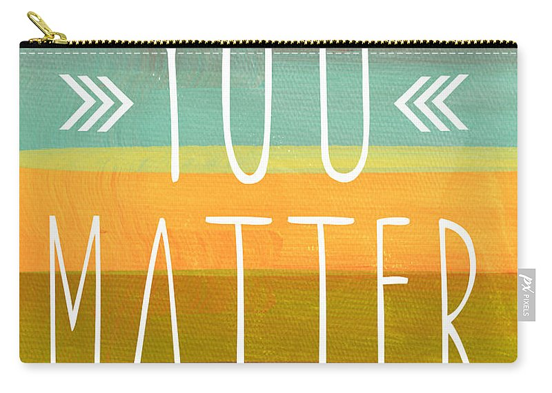 Stripes Carry-all Pouch featuring the painting You Matter by Linda Woods