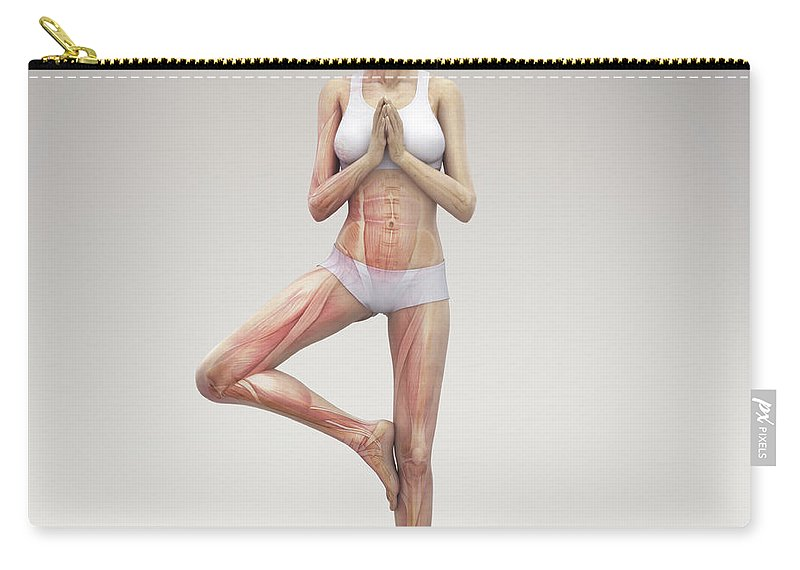 3d Visualisation Carry-all Pouch featuring the photograph Yoga Tree Pose by Science Picture Co